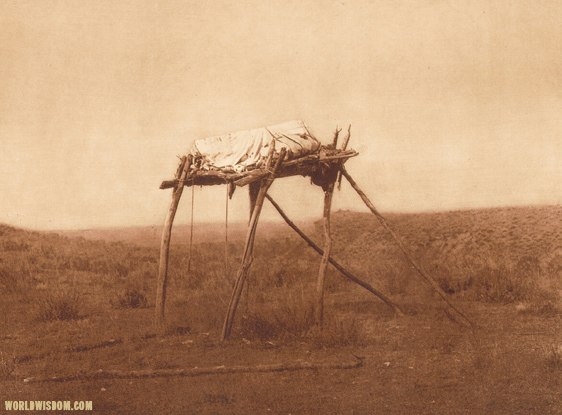 """A burial platform"" - Apsaroke, by Edward S. Curtis from The North American Indian Volume 4"