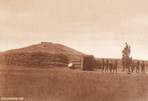 """Arikara medicine-lodge"" - Arikara, by Edward S. Curtis from The North American Indian Volume 5"