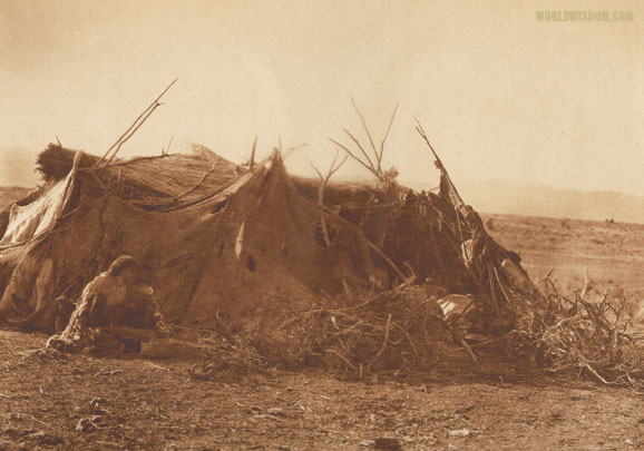 """Achomawi summer hut - Achomawi"", by Edward S. Curtis from The North American Indian Volume 13"