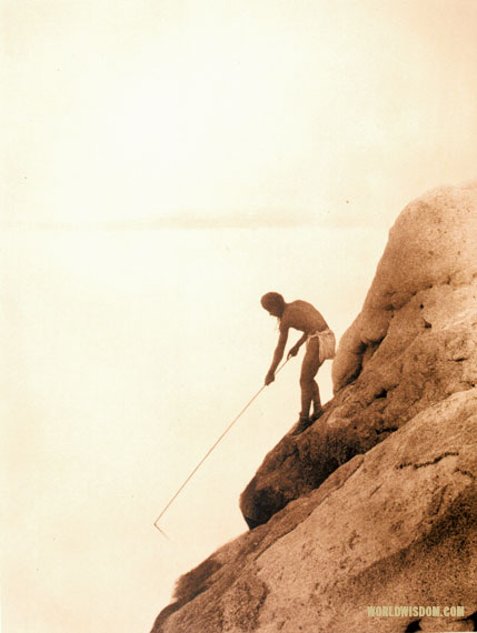 """Fishing with a gaff-hook"" - Paviotso, by Edward S. Curtis from The North American Indian Volume 15"