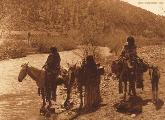 """At the ford"" - Apache, by Edward S. Curtis from The North American Indian Volume 1"